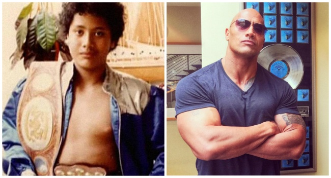 Dwayne Johnson young and today