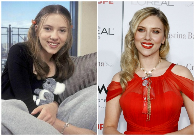 Scarlett Johansson young and today