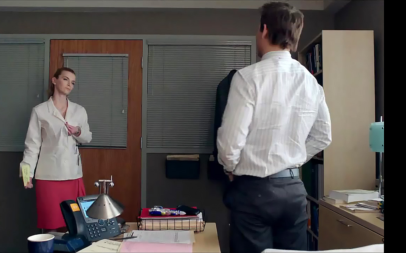 ... we get to see Betty Gilpin topless. She rides a guy in his doctor's  office on a chair, and makes him call her a slut and a cunt!