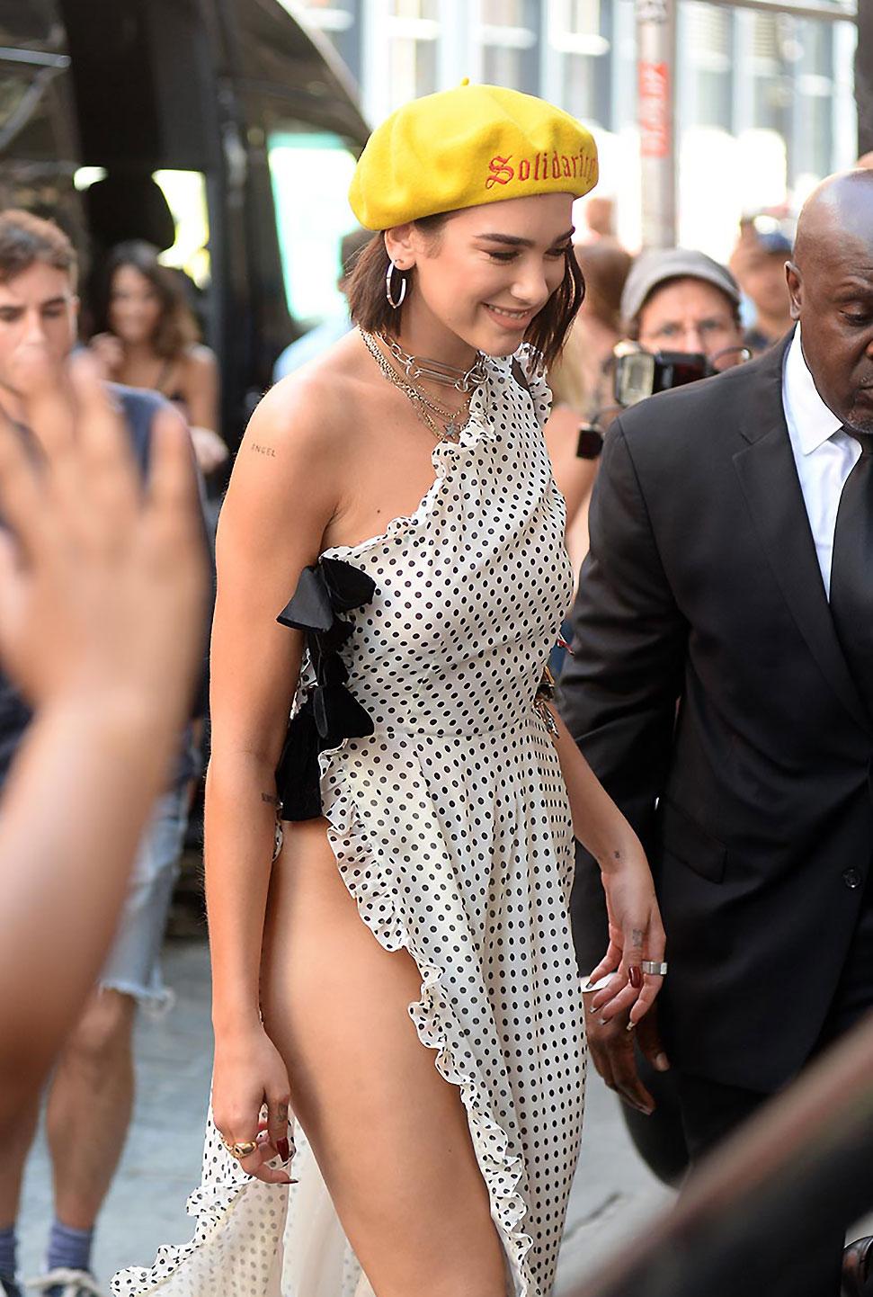 Dua Lipa nude under that dress