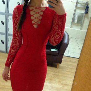 Daisy Wood-Davis hot in red dress