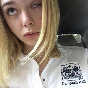 Elle Fanning funny face on selfie