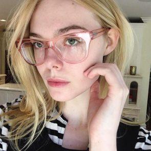 Elle Fanning sexy wth eyeglasses