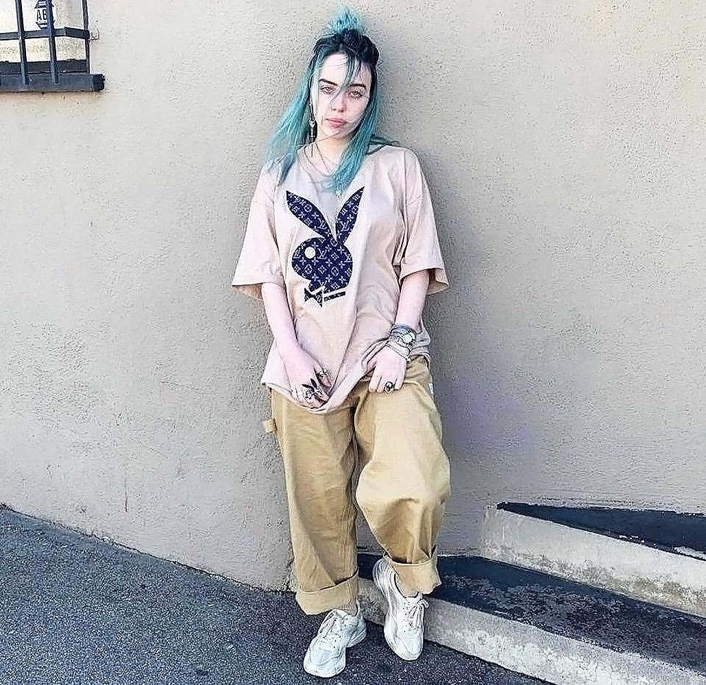 Billie Eilish in playboy shirt