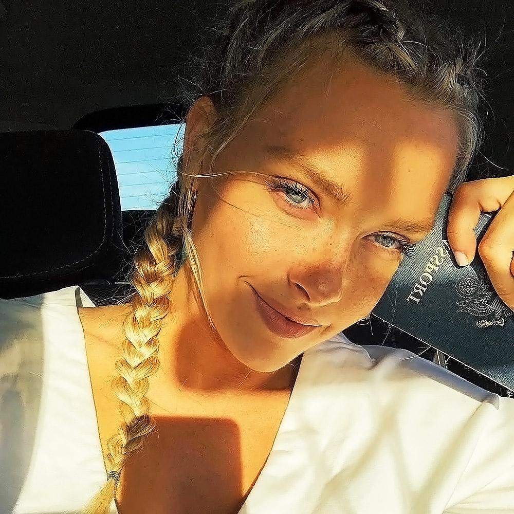 Camille Kostek selfie in car
