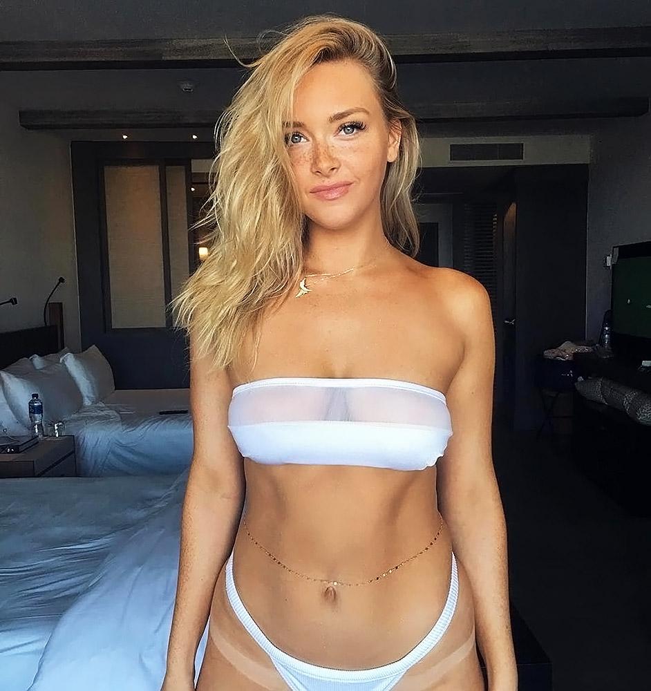 Camille Kostek white bikini