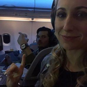 Nikki Glaser sexy in airplane