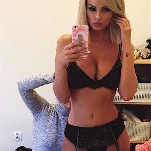 Rhian Sugden black lingerie