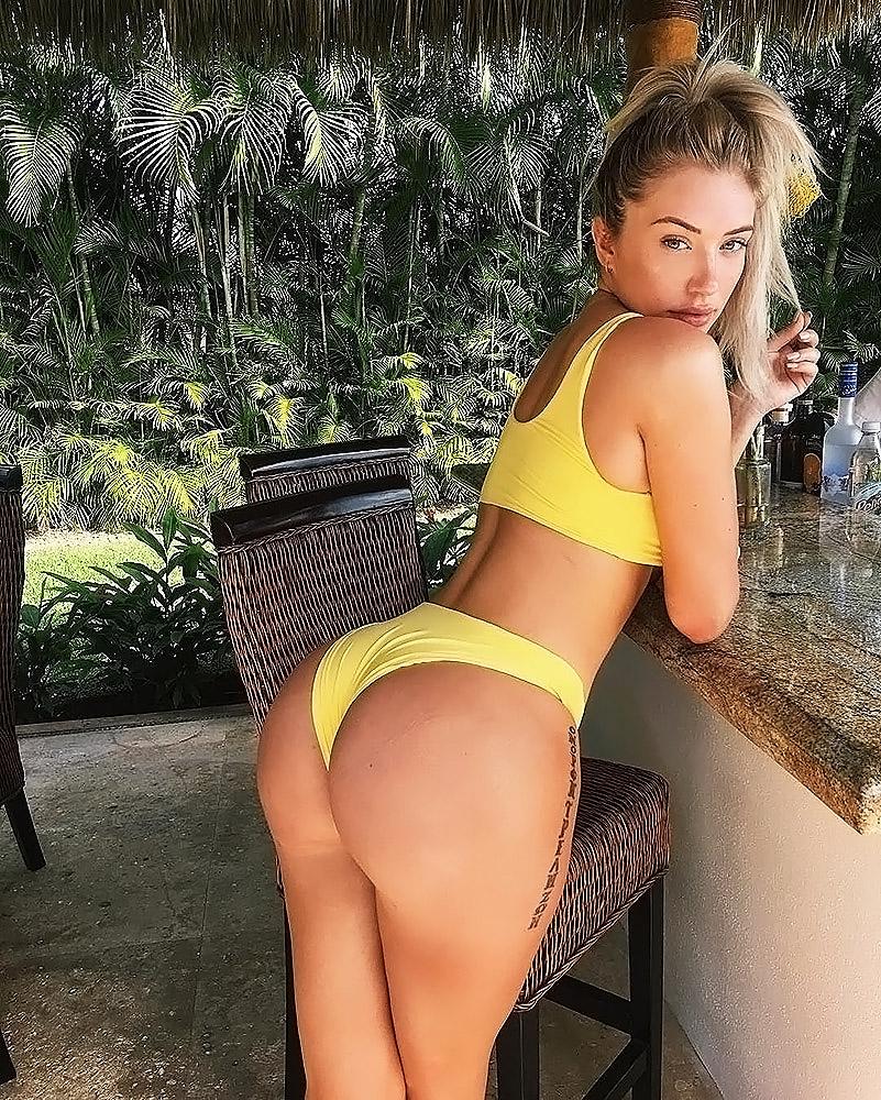Anastasia Karanikolaou yellow bikini