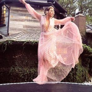 Chloe Bennett sexy pink dress