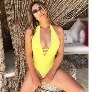 Elizabeth Hurley yellow swimwear