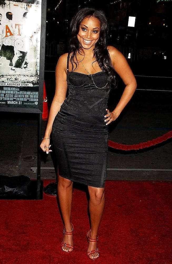 Lauren London black dress
