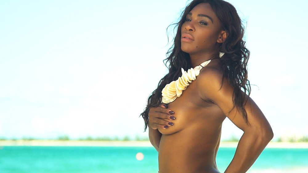 Serena Williams posing topless