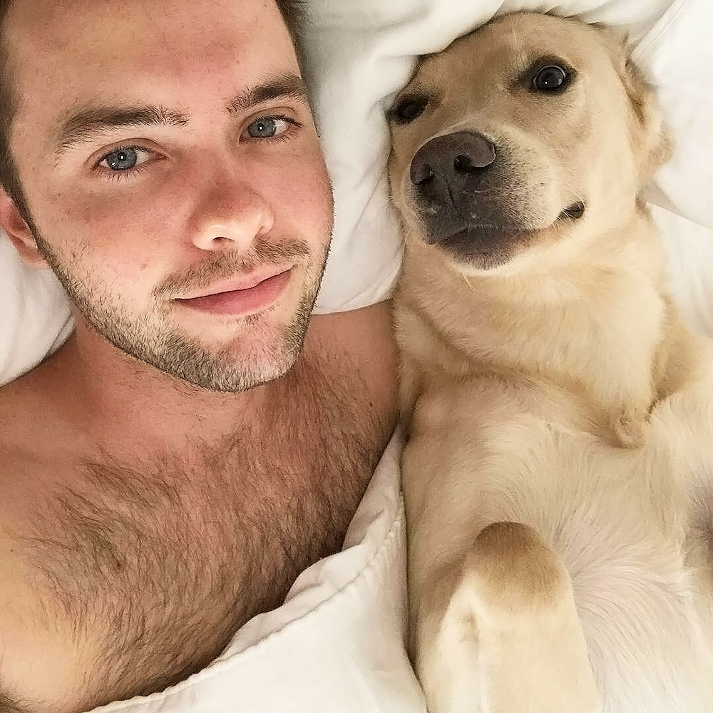 Ryland Adams leaked selfie with his dog