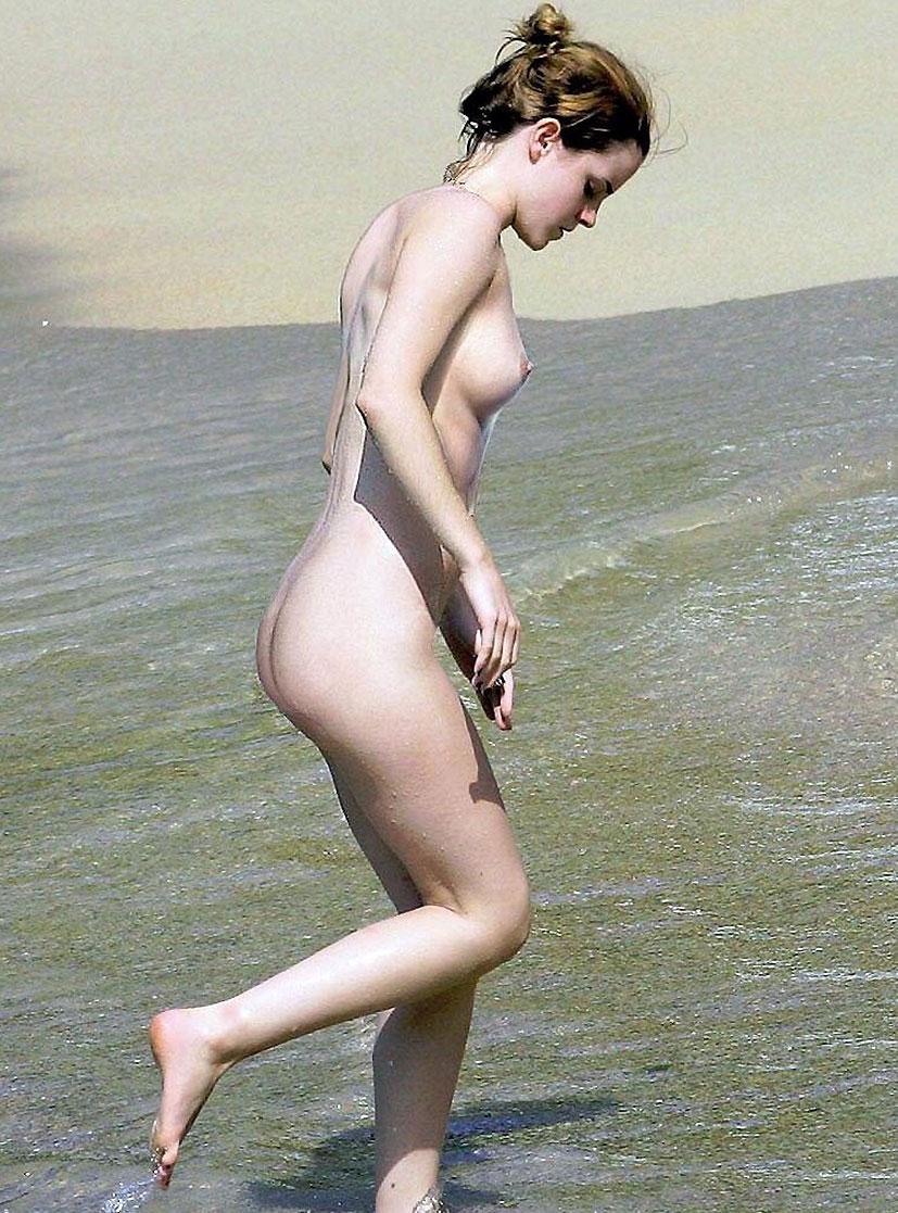 Emma Watson nude on the beach