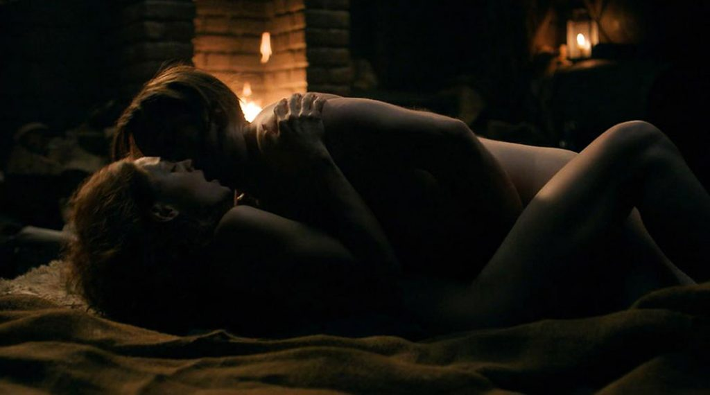 Sophie Skelton nude sex scene