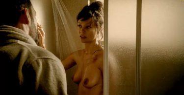 Thandie Newton nude taking a shower
