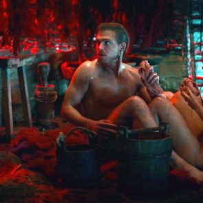 Jeanne Goursaud nude in man's lap